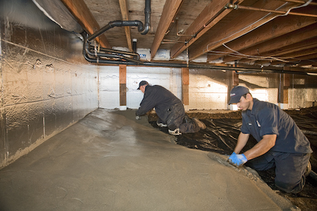 Concrete encapsulation for Crawlspace foundation